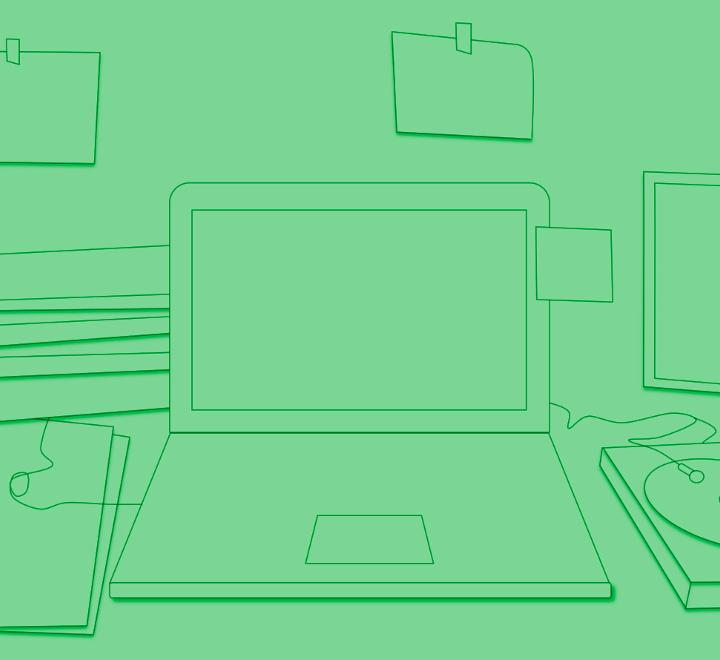 Green sketch of a laptop