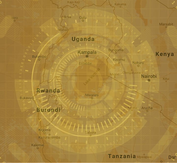 Map of East Africa and binary code