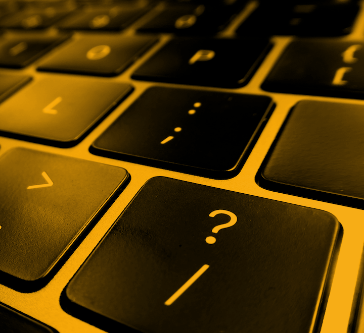 Keyboard with question mark key showing